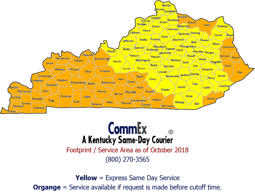 CommEx Courier & Logistics - pickup and delivery in Kentucky, including Bardstown, Berea, Cynthiana, Elizabethtown, Frankfort, Georgetown, Lexington, Louisville, Midway, Paris, Radcliff, Richmond, Winchester, and all of Kentucky.